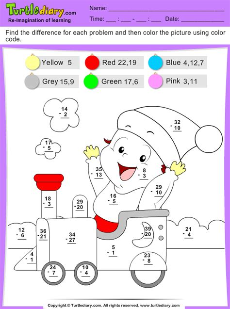 Color by Difference Train Worksheet - Turtle Diary