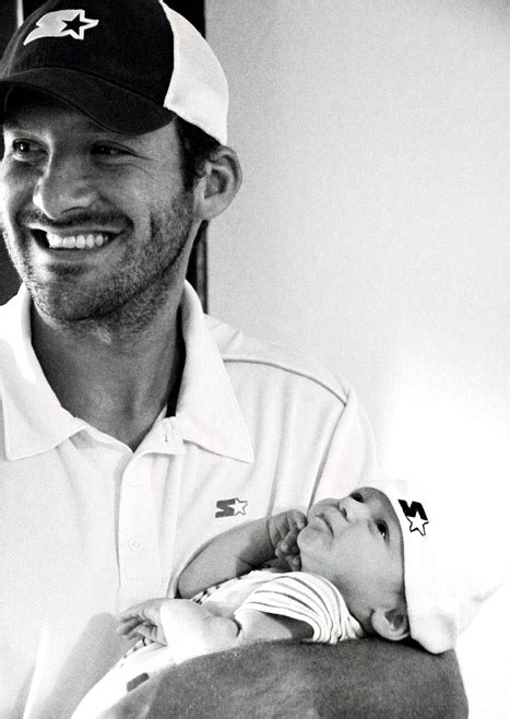Aww! Tony Romo and Son Hawkins, 2 Months, Wear Matching