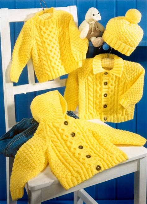 Baby Aran Hooded Jacket Collared Jacket & Sweater by