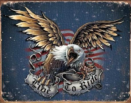 LIVE TO RIDE - eagle Tin Signs, Metal Signs | Sold at