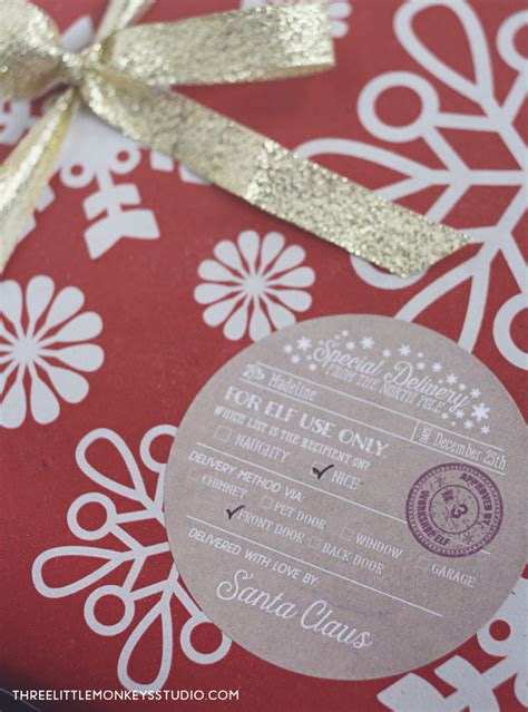 Santa's Special Delivery Gift Label Tags | Free printable