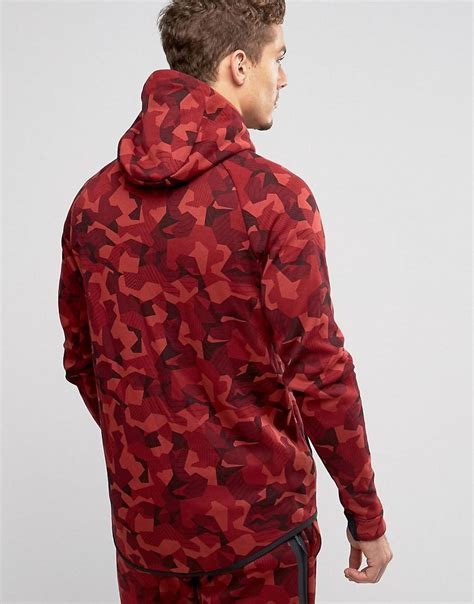 Nike Tech Fleece Camo Hoodie In Red 835866-674 - Red for